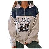 skiyy Sudadera para Mujer Alaska Letra Impresión Suelta Casual Manga Larga Hip Hop Alto Cuello Redondo Cremallera Águila Gráfico Jerseys Pullover Blouse Tops 2021 (Azul, M)