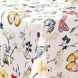 laro Wachstuch-Tischdecke Abwaschbar Garten-Tischdecke Wachstischdecke PVC Plastik-Tischdecken Eckig Meterware Wasserabweisend Abwischbar AQ, Größe:100-140 cm, Muster:Blumen, Schmetterling/bunt - 2