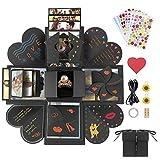 Jooheli - Caja de Regalo de explosión, Caja Sorpresa, álbum de Fotos Plegable y Libro de Recortes Creativo para Navidad, cumpleaños, día de la Madre, día de San Valentín, Regalo de Boda (Negro)