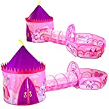 JOYIN Girls Unicorn Princess Pink Castle Play Tent with Pop...