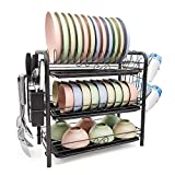 Dish Drying Rack 3-Tier Chrome Plating Dish Rack Stainless Steel Kitchen Dish Drainer