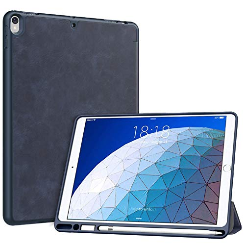 MoKo Case Fit New iPad Air (3rd Generation) 10.5' 2019/iPad Pro 10.5 2017 with Apple Pencil Holder - MoKo Slim Lightweight Smart Shell Stand Cover Case with Auto Wake/Sleep - Indigo