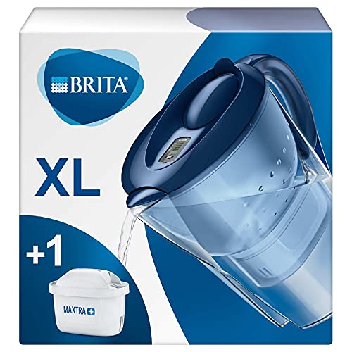 BRITA Marella XL water filter jug for reduction of chlorine, limescale and impurities, Includes 1 x MAXTRA+ filter cartridges, 3.5L -Blue White