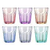 UNISHOP Set de 6 Vasos de Colores Pastel, Vasos de Cristal Multicolor Altos, Aptos para Lavavajillas