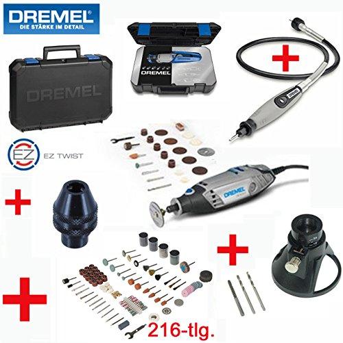 DREMEL Multitool 3000-25 Set - inklusive 25 DREMEL Zubehörteile, DREMEL Biegsame Welle, DREMEL Bohrfutter, DREMEL Profi-Koffer mit herausnehmbaren Zubehöreinsatz, DREMEL Gerätehalter, 216-tlg. SILVERLINE Zubehörset und Multi-Schneid- und Fräsvorsatz
