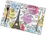 French Paris Tour Eiffel Tower - Manteles Individuales con impresión para Mesa de Comedor, Juego de 6 manteles Individuales para Exteriores, fáciles de Limpiar y Lavables