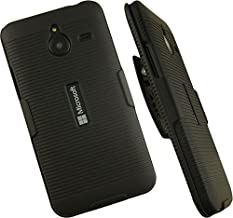 NAKEDCELLPHONE'S Black Ribbed Rubberized Hard Shell CASE Cover + Belt Clip Holster Stand for Microsoft Lumia 640 XL Phone (AT&T, Unlocked, Lumia 640-XL, 640XL)