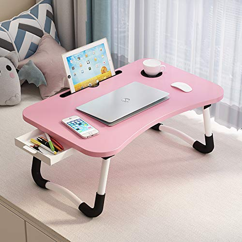 Lap Desk with Storage Drawer, Phone and Cup Holder, Laptop Bed Tray Table, 23.6' Foldable Laptop Desk with White Legs for Adults and Kids, Laptop Stand for Working, Writing, Gaming and Drawing, Pink
