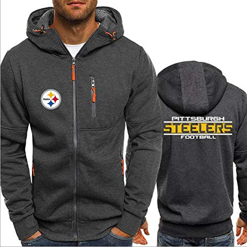 Hoodie NFL Football Jersey Pittsburgh Steelers Langarm-Zipper Sweatshirts Männer Herbst Jersey High Neck Hoodie Long Sleeve T-Shirt Pullover,L