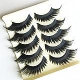 HongHong 5 Pairs 3D Thick Long False Eyelashes Extension Natural Look Soft Reusable False Eyelashes for Party Pom Cosplay Stage Makeup