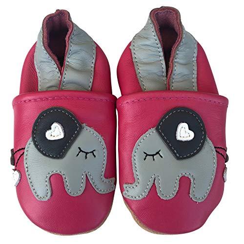 ENGEL + PIRATEN Krabbelschuhe Babyschuhe Leder Lauflernschuhe Lederpuschen MARKENQUALITÄT AUS Deutschland viele Modelle (12-18 Monate(Gr.20/21), Elefant Pink)