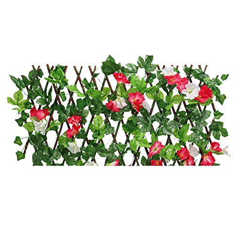 BIUDUI Garden Hedge Privacy Garden Fence Retractable Artificial Wooden Fence Artificial Grass Decorative Fence Faux Ivy Vine Fence Decoration With Flowers Privacy Fence Garden Fake Fence Mat