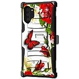 TurtleArmor | Kompatibel mit Samsung Galaxy Note 10 Plus Hülle 6,8 | Note 10+ Hülle | N975 [Hyper Shock] angepasste Armor Holster Gürtelclip Hybrid Cover Stand Shock Schutzhülle - Butterfly Roses
