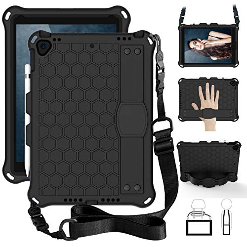 SsHhUu iPad 7th Gen 10.2' 2019 / iPad Air 3 10.5' / iPad Pro 10.5' Case for Kids, Shockproof Light Weight Kids Friendly Cover with Pencil Holder, Shoulder Strap for iPad 10.2 Inch - Black/Black