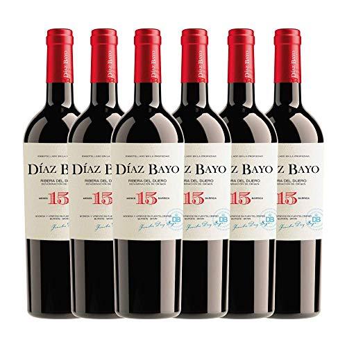 Díaz Bayo 15 Meses en Barrica. Vino Tinto Crianza Denominación de Origen Ribera del Duero. Botella de 750ml. en caja de 6 botellas.