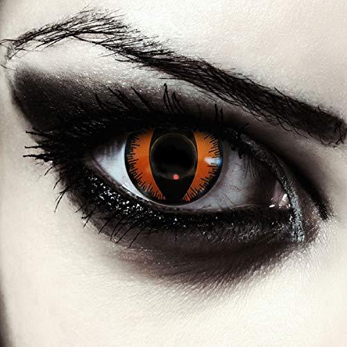 "Designlenses, Dos lentillas de colores naranjas para Halloween costume ojo de gato/dragón lentes sin dioprtías/corregir + gratis caso de lente ""Orange Dragon"
