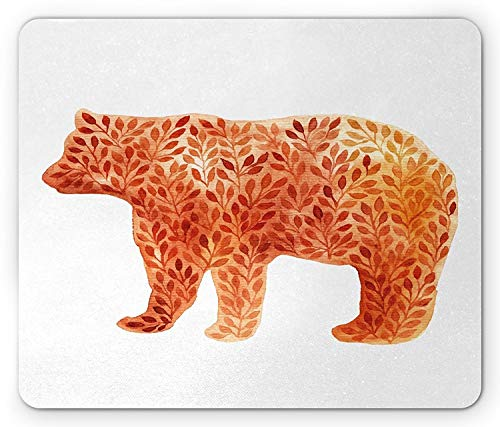 Flying Pig Men Hand Paint Watercolor Style Bear Silhouette with Autumn Branches Leaves,Rectangle Mousepad, Orange Salmon Yellow