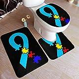 Taroot AA Estados de concienciación sobre el Autismo Alfombrillas de baño de Franela cómoda Set de 3 Piezas Soft MAT-1194