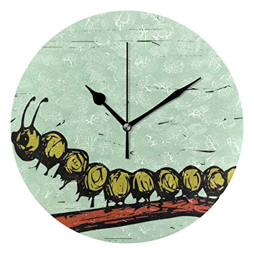 Butty Reloj de Pared Redondo con impresión Digital Abstracta de Caterpillar para el Dormitorio de la Sala de Estar de la Oficina