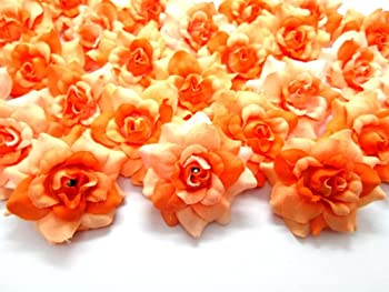 100  Silk Two Tone Orange Roses Flower Head - 1.75  - Artificial Flowers Heads Fabric Floral Supplies Wholesale Lot for Wedding Flowers Accessories Make Bridal Hair Clips Headbands Dress