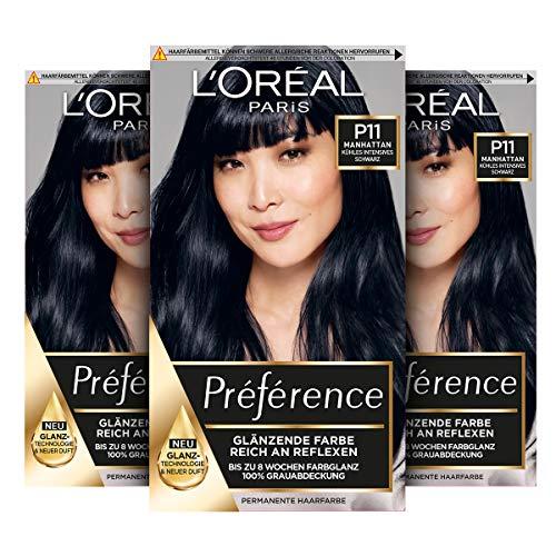 L'Oréal Paris Préférence P11 Kühles Intensives Schwarz (Manhattan) 3er Pack(3 x 213 g)