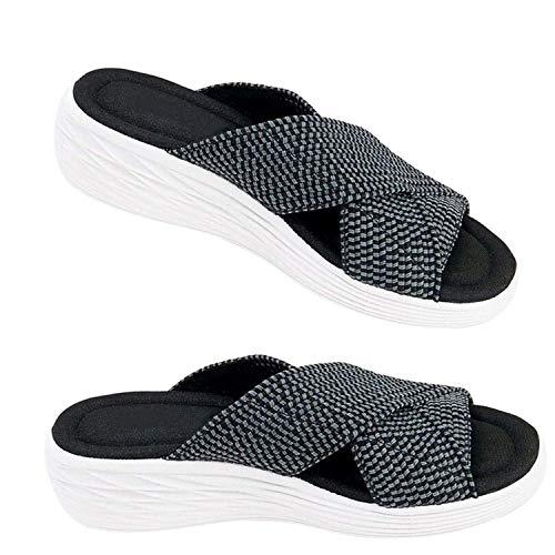 APWIN 2021 Femme Été Mode Sandales Bout Ouvert Plates Compensées Pantoufles D'intérieur et Extérieur Chaussons de Plage, Chaussures Sandales à Glissière Orthopédiques Croisées Extensibles