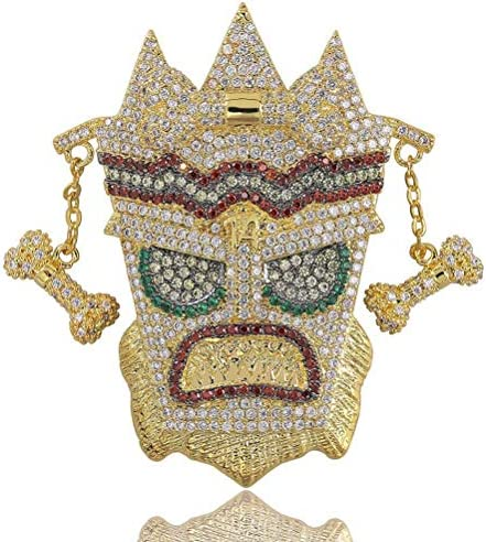 Moca Jewelry Hip Hop Iced Out Bling UKA Mask Pendent 18K Gold Plated Chain Necklace for Men product image