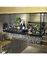 Wijnrek Plafond Smeedijzeren Wijnrek, Verstelbare Hoogte En Afstand, Hangende Bekerhouder, Bar Wijnrek Decoratie Rek Display Rek