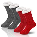 SEVENS 2 Pairs Women Fleece Lined Socks Cozy Winter Slipper Socks with Gripper Gray and Red