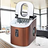 Ice Maker Machine Countertop,Electric Ice Cube Maker With Scoop Basket,9 Ice Cubes Ready In 6-13 Minutes,33lbs In 24h Copper