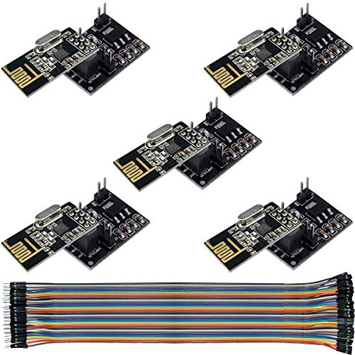 Youmile 5Pcs Wireless Transceiver Module NRF24L01 2.4GHz Antenna Wireless Transmission + NRF24L01 Adapter 8 Pin Socket Breakout for Arduino Raspberry Pi with DuPont Cable