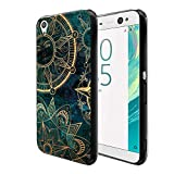 FINCIBO Case Compatible with Sony Xperia XA Ultra 6 inch, Flexible TPU Black Soft Gel Skin Protector Cover Case for Xperia XA Ultra - Teal Bohemian Flowers Compass