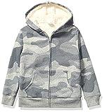 Amazon Brand - Spotted Zebra Kids Boys Sherpa-Lined Fleece Long-Sleeve Zip-Up Sweatshirt Hoodies, Grey Camo, Medium