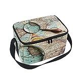 Bolsa de almuerzo Loupe Seach Antiguo Mapa del Mundo Lupa Enfriador para Picnic Bandolera Fiambrera