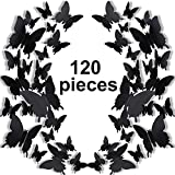 120 Piezas Pegatinas de Pared de 3D Mariposa 3 Tamaños Calcomanías Murales de Mariposa Extraíble para Decoración Arte Bricolaje Refrigerador Casa Boda Habitación Niño Bebé