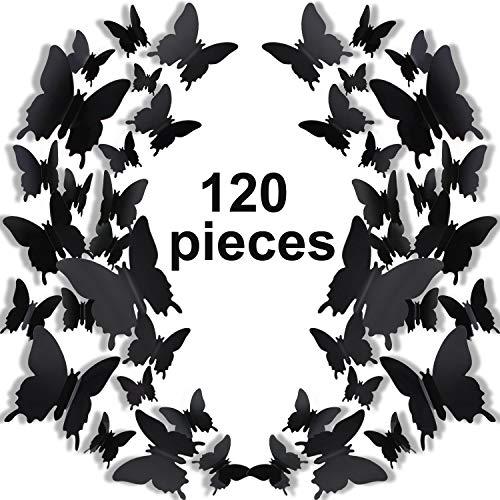 120 Stücke 3D Schmetterling Wand Aufkleber 3 Größen Abnehmbare Schmetterling Wandtattoos für Baby Kinderzimmer Hochzeit Hause Kühlschrank DIY Kunst Dekor