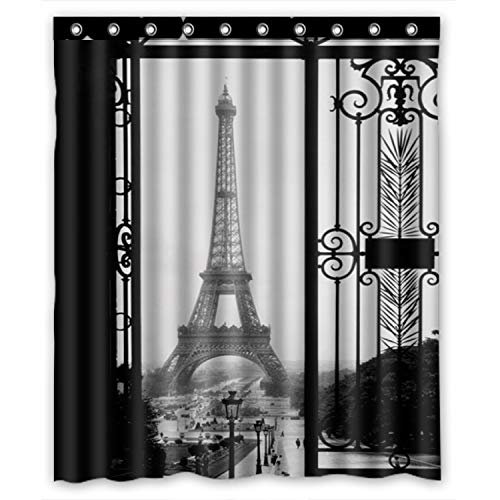 FMSHPON Paris Eiffel Tower Black Art Door Waterproof Fabric Bathroom Shower Curtain Size 60x72 inches