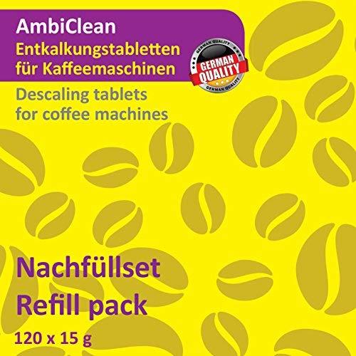 AmbiClean® Nachfüllpack- 120 Entkalker-Tabletten für Kaffeevollautomat, Kaffee-Maschine und Wasserkocher, Kalk-Entferner für alle Geräte-Marken – 120 Tabletten je 15 g