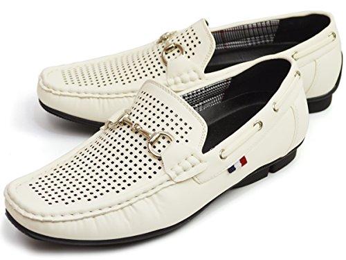 (ウィルソン) Wilson ドライビングシューズ メンズ スリッポン ビット ローファー モカシン カジュアル シューズ スニーカー 靴 25cm White ホワイト 白色
