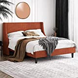 Einfach Full Size Platform Bed Frame with Wingback Headboard / Fabric Upholstered Mattress Foundation with Wooden Slat Support, Burnt Orange