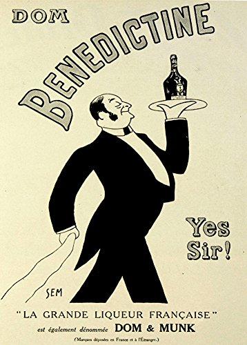 Vintage cervezas, vinos y licores licor Benedictine la grande Francaise, 1910. 250gsm brillante Art Tarjeta A3reproducción de póster