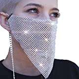 Yokawe Crystal Face Mask Silver Sparkly Clubwear Mesh Facemasks Nightclub Masquerade Masks Jewelry for Women and Girls (Silver)