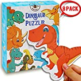 BEESTECH Beginner Dinosaur Puzzles for 2, 3,4 Year Old Toddlers, 8 Pack Wooden Jigsaw Floor Puzzles, Educational Learning Puzzles for Toddlers, 8 Different Dinosaurs with Dinosaur World Map