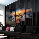 45Tdfc Lienzo en Cuadro Abstracto Moderno200x100cm Impresión Increíble Playa del Atardecer 5 Piezas Material Tejido no Tejido Impresión Artística Imagen Gráfica Decoracion de Pared Arte
