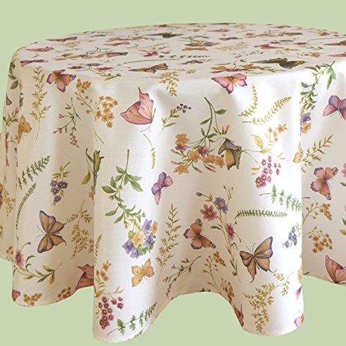 Kamaca Serie Schmetterlinge AUF DER BLUMENWIESE in Creme mit zarten Pastelltönen EIN Schmuckstück in jedem Raum (Tischdecke Rund Durchmesser 150cm)