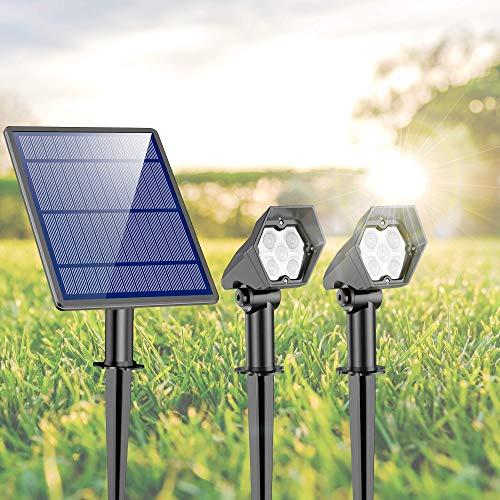 Gartenleuchte Solar Solarlampen für Außen, 5 Ultrahelle LED mit 3 Beleuchtungsmodi, IP65 Wasserdicht Außen- Wandleuchte Sehr Hell Solarleuchte mit Erdspieß für Garten Rasen Bäume Garage (2 Pack)