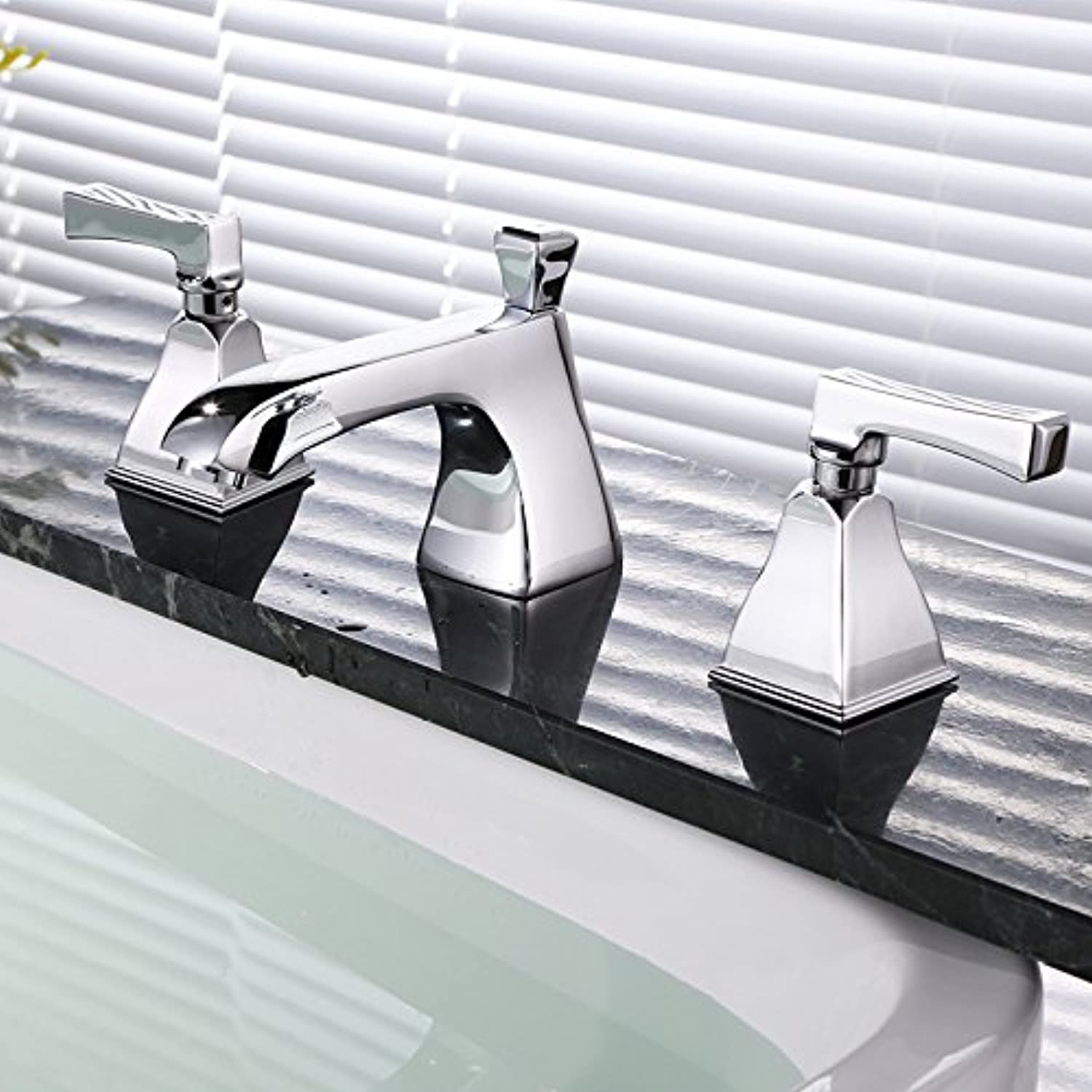 SHLONG Tap Copper Double Handle Three Holes Hot and Cold Basin Faucet