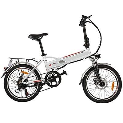 "BIKFUN 20""/ 26"" Faltbares E-Bike Pedelec, 36V 8Ah Lithium-Akku 250W Motor Elektrofahrrad, 26 Zoll 21-Gang/ 20 Zoll 7-Gang Elektrisches Fahrrad (20 Faltbar-weiß)"