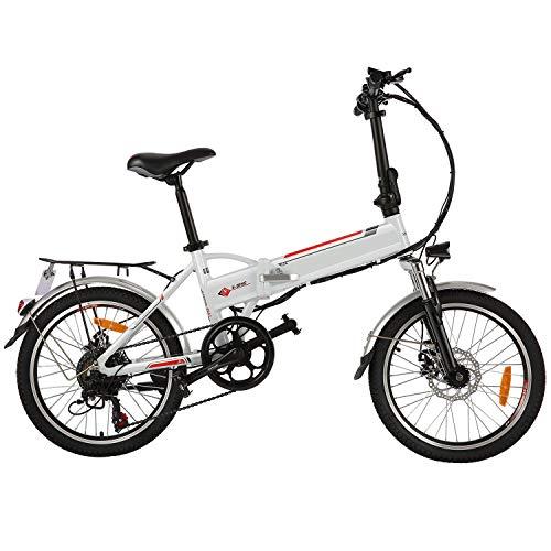 "BIKFUN 20\""/ 26\"" Faltbares E-Bike Pedelec, 36V 8Ah Lithium-Akku 250W Motor Elektrofahrrad, 26 Zoll 21-Gang/ 20 Zoll 7-Gang Elektrisches Fahrrad (20 Faltbar-weiß)"
