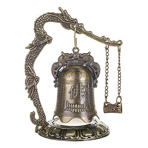 SunflowerU New Temple Brass - Reloj de estatua de bronce (7 x 12 cm), diseño de dragón de cobre tallado